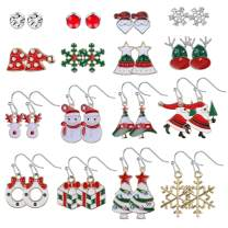 Jstyle Christmas Stud Earring Drops Set for Women Thanksgiving Xmas Holiday Festive Drop Dangle Earrings With Christmas Gift Bag