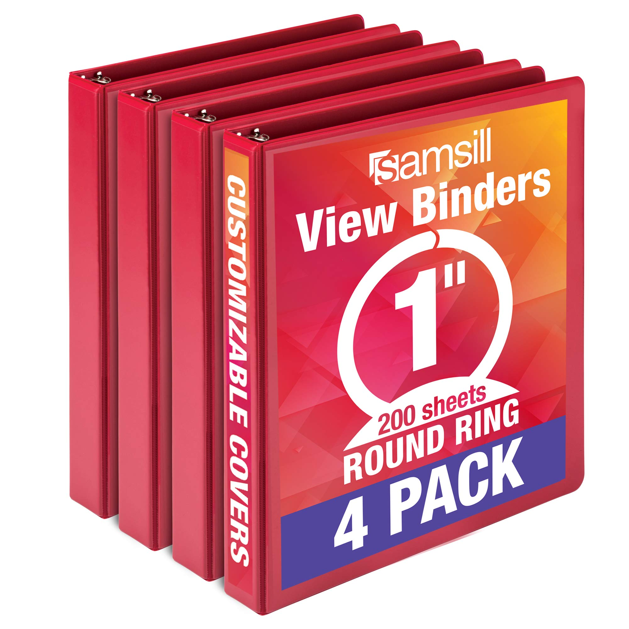 Samsill Economy 3 Ring Binder Organizer, 1.5 Inch Round Ring Binder, Customizable Clear View Cover, Red Bulk Binder 4 Pack