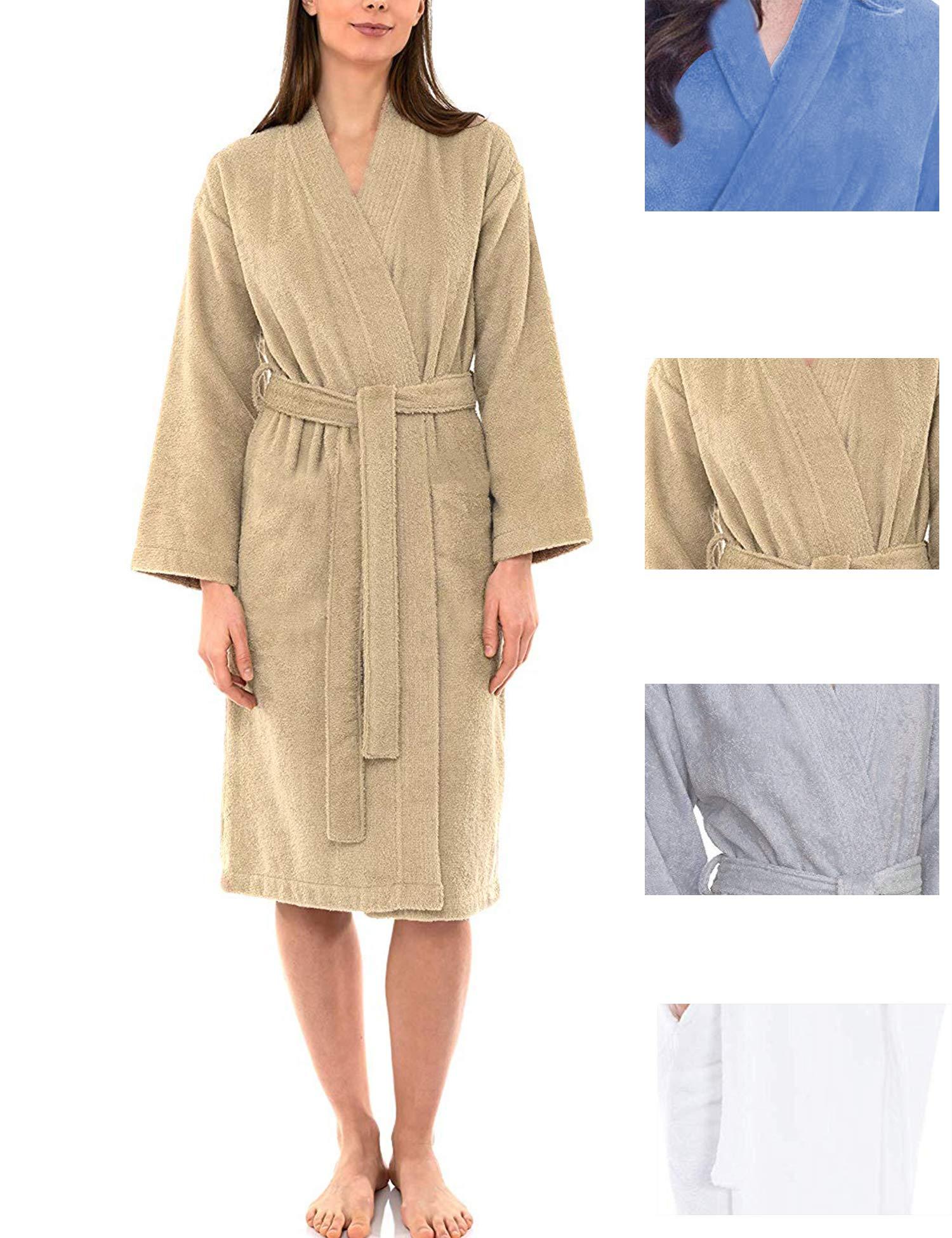 wearella Bathrobe Kimono Robes Cotton Lightweight Long Robe Knit Bathrobe Soft Sleepwear Womens Loungewear S-XXL