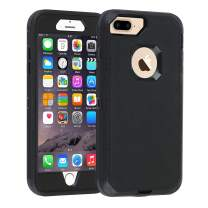 Co-Goldguard iPhone 7 Plus/8 Plus Case [Litchi Pattern Series] Heavy Duty Armor 3 in 1 Rugged Cover with Screen Bumper Dust-Proof Shockproof Drop-Proof Scratch-Resistant Shell for iPhone 7+/8+, Black