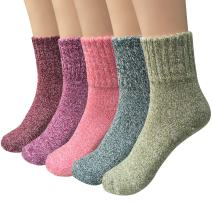 5 Pairs Womens Wool Socks Thick Knit Vintage Winter Warm Cozy Crew Socks Gifts
