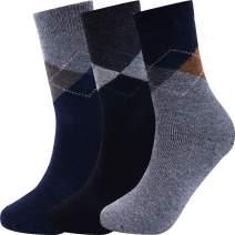 Mens Wool Socks Warm Winter Cozy Thermal Thick Soft Crew Socks (Multicolored Diamond, 3)