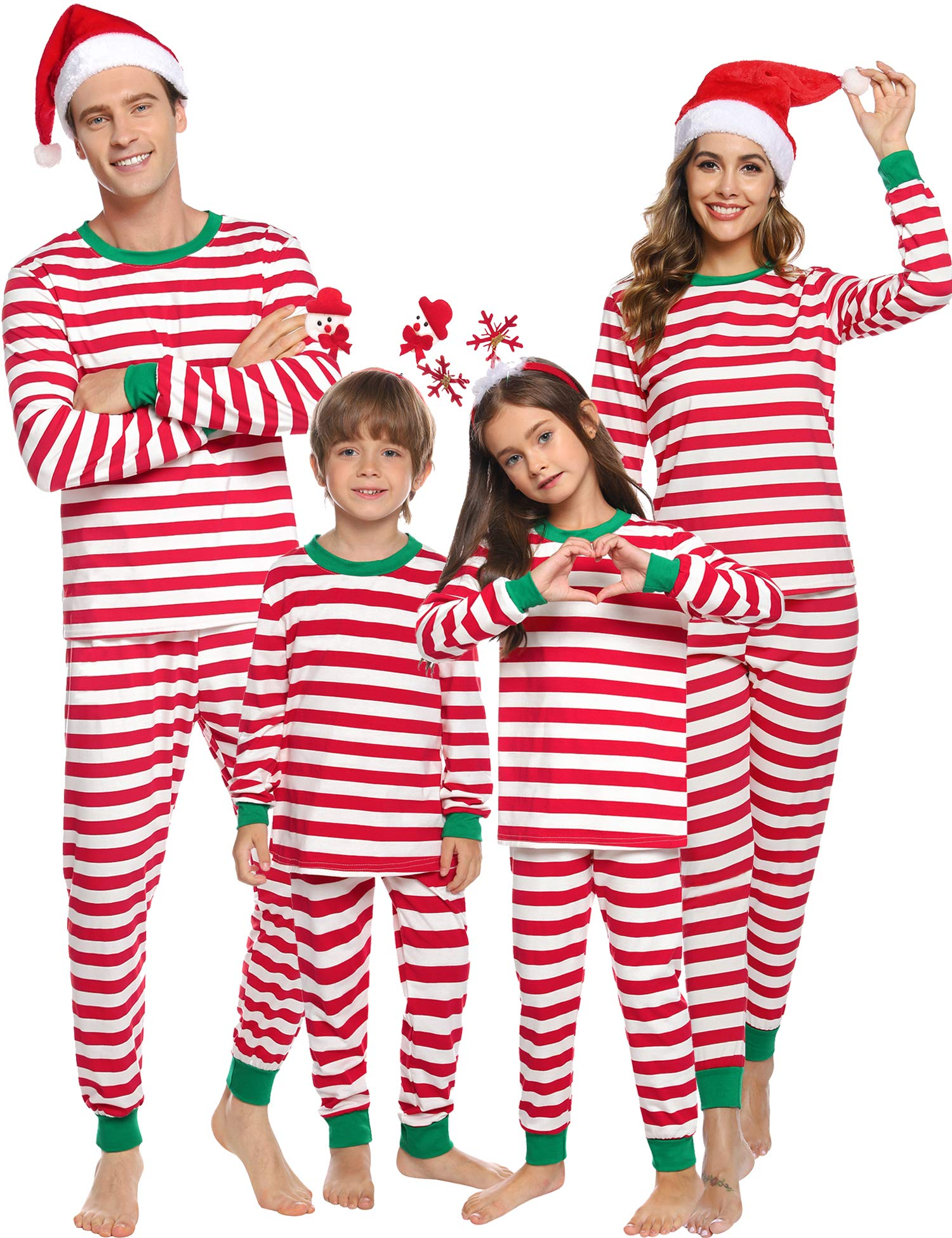 Sykooria Matching Family Christmas Pajamas Set Womens Mens Boys Girls Kids Snowman Reindeer Top & Plaid Pants