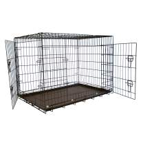 Iconic Pet Collapsible/Foldable Double Door Pet Training Crate with Divider – Removable Pan for Easy Cleaning, Portable Metal Puppy Crate in Varying Sizes, Easy to Assemble Indoor/Outdoor Dog Cage