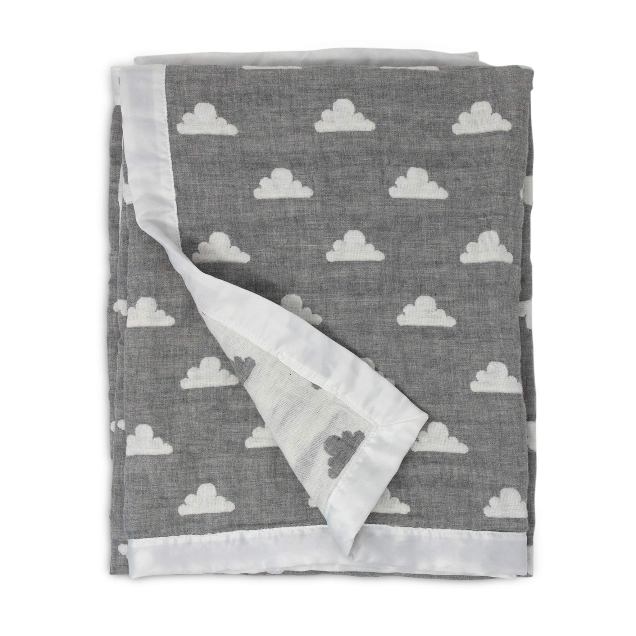 Living Textiles Muslin Jacquard Grey Clouds Soft Baby Blanket Premium Quality 100% Cotton for Best Comfort | Double Layer,Swaddle,Receiving,Infant,Toddler,Newborn,Nursery,Boy,Girl,Gift | 40x30 Inch
