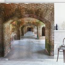 """Ambesonne Vintage Shower Curtain, Brick Arches Dry Tortugas Old Fort Historic Heritage Tourist Attraction Vintage Design, Cloth Fabric Bathroom Decor Set with Hooks, 75"""" Long, Bronze"""