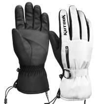 KUTOOK Winter Ski Snow Gloves Windproof Thermal Touch Screen Non-Slip Palm with Zipper Pocket for Winter Sports Men and Women