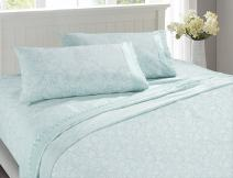 MARQUESS Microfiber Sheet Set-100% Brushed Lace Breathable Lightweight 4-Piece Sheets, Wrinkle Resistant, Soft& Cool Embroidery Bedding Damask Style Printing Design(ICE Blue, King)