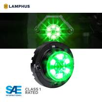 SnakeEye III GREEN LED Hideaway Strobe Light [SAE Class 1] [IP67 Waterproof] [72 Flash Modes] [Multi Units Sync-able] [Steady Override] Green Emergency Strobe Police Lights For Volunteer Firefighter