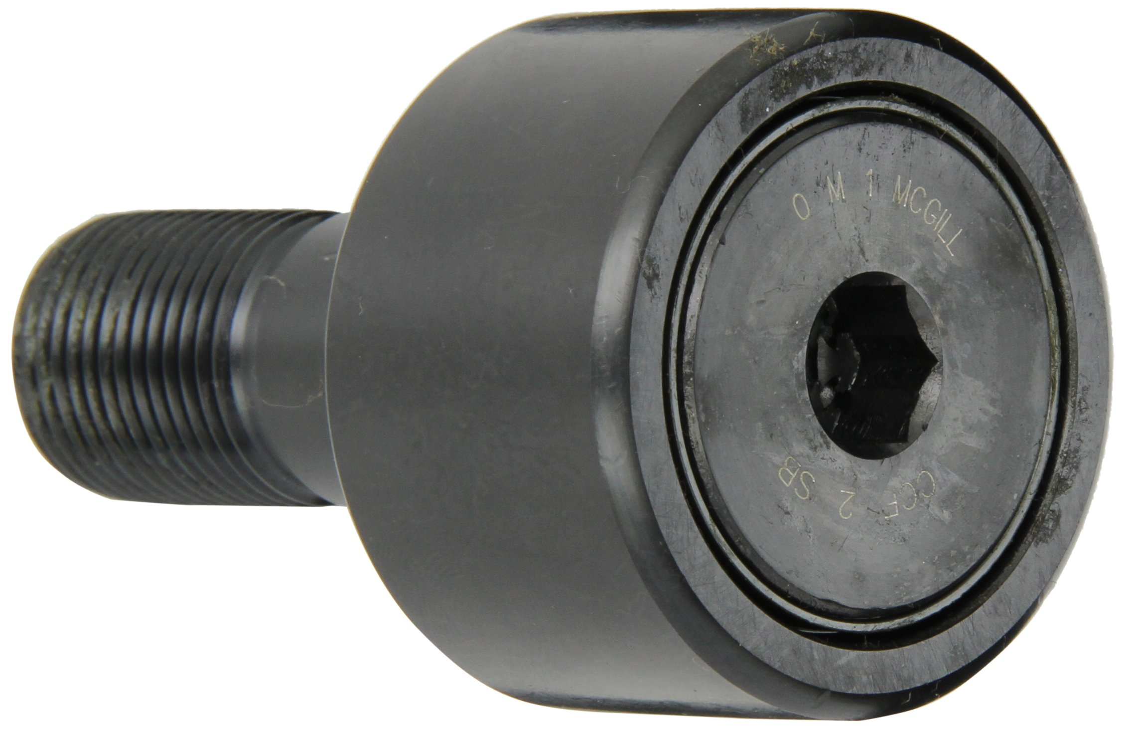 "McGill CCF2SB Cam Follower, Crowned, Sealed, Inch, Steel, 2"" Roller Diameter, 1-1/4"" Roller Width, 2"" Stud Length, 7/8"" Thread Size, 3-9/32"" Overall Length, 0.875"" Stud Diameter"