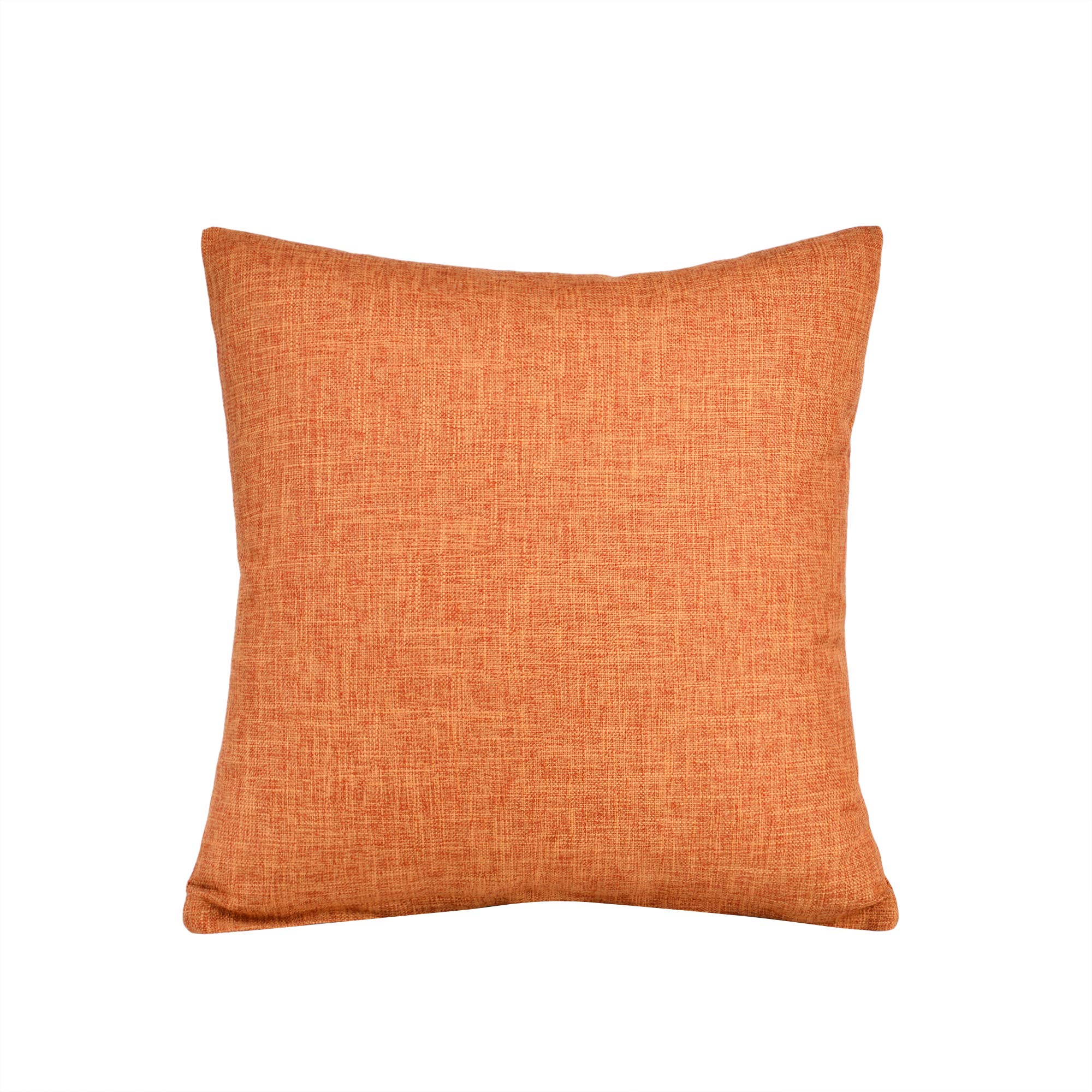"""SEEKSEE Solid Color Pillow Covers Shams Burlap Lined Square Throw Pillow Case Cushion Covers for Bench Couch Sofa Living Room (26""""X26"""", Orange)"""
