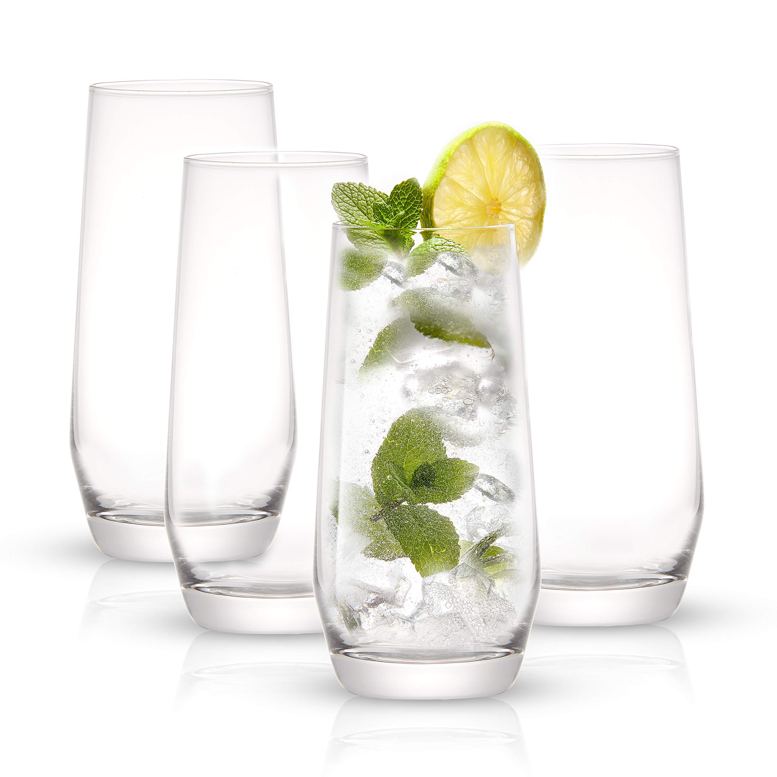 JoyJolt Gwen Highball Glasses Set of 4 Tall Drinking Glasses. 18oz Cocktail Glass Set. Lead-Free Crystal Glassware. Bourbon or Whiskey Glass Cup, Bar, Iced Tea, Water, Mojito and Tom Collins Glasses