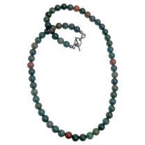 Bloodstone Necklace Boutique Genuine Round Gemstone Beaded Handmade Crystal Healing B02