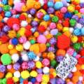 Caydo 2000 Pieces Assorted Sizes Multicolor Pompoms Glitter Pom Poms with 4 Sizes Wiggle Eyes for Valentine Day Hobby DIY Art Craft Supplies