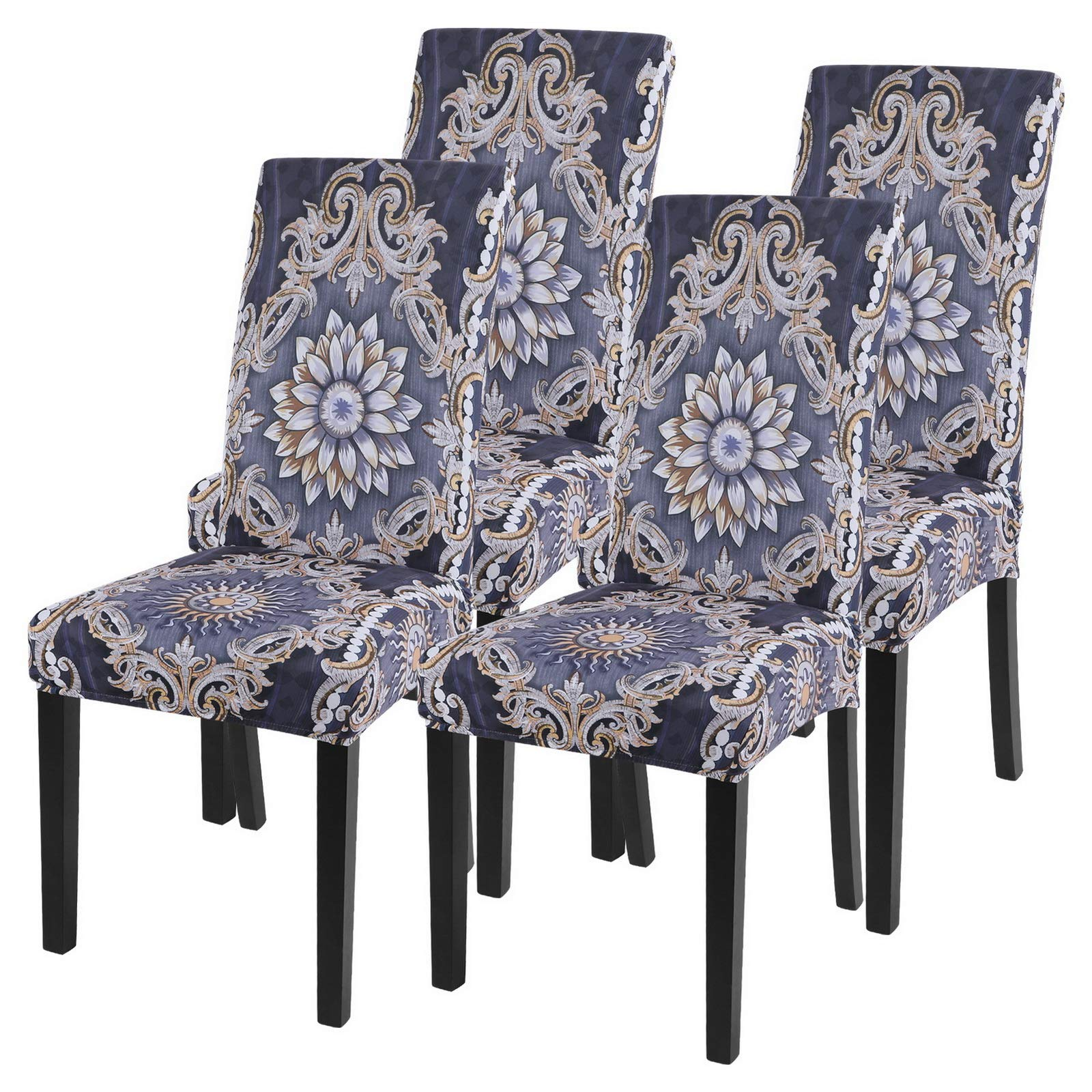 SearchI Dining Room Chair Covers Slipcovers Set of 4, Spandex Super Fit Stretch Removable Washable Kitchen Parsons Chair Covers Protector for Dining Room,Hotel,Ceremony(Pattern4)