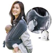 Konny Baby Carrier | Ultra-Lightweight, Hassle-Free Baby Wrap Sling | Newborns, Infants to 44 lbs Toddlers | Soft and Breathable Fabric | Sensible Sleep Solution (Charcoal, XL)