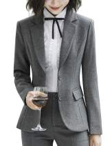 Fashion Blazer Jacket for Women Two Button Blazers Long Sleeve Casual Office Work Blazer Jacket (Grey, US XX-Large)