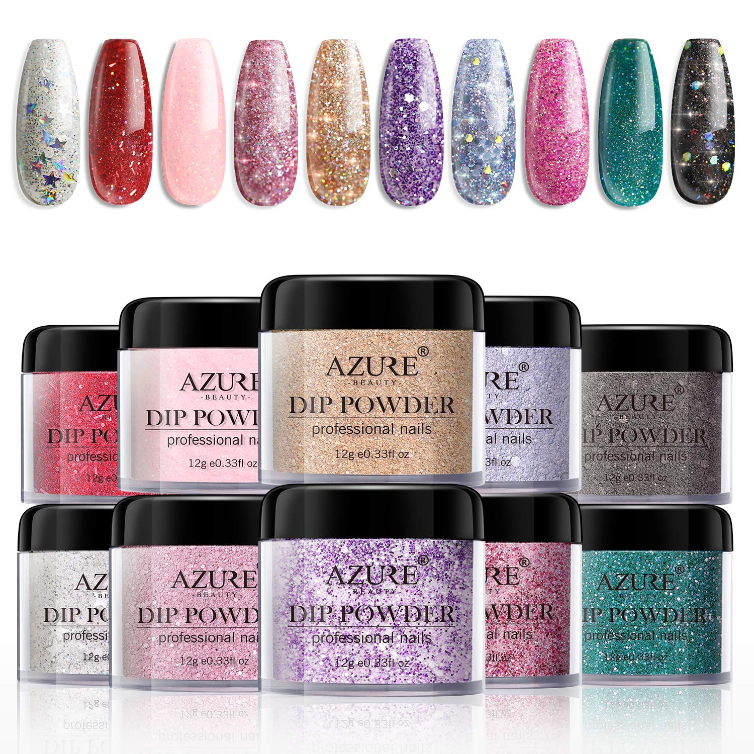 Dipping Nail Powder Colors Set - 10 Glitter Dip Powders Colors Nails Set for Party Wedding Anniversary with Gift Box No UV/LED Nail Lamp Needed for French Nail Manicure Nail Art