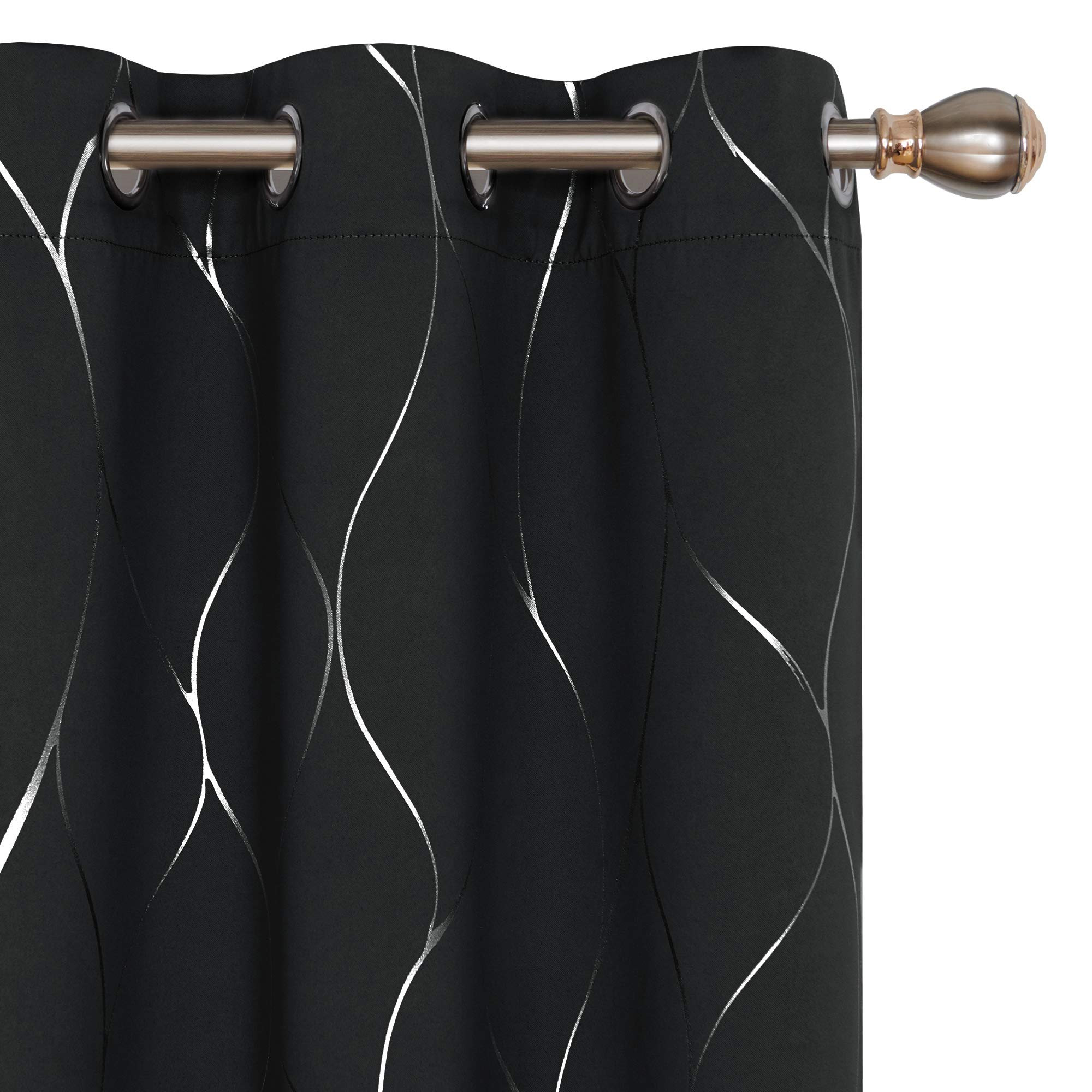 Deconovo Blackout Curtains Wave Foil Print Pattern Room Darkening Curtain Thermal Insulated Window Energy Saving Drapes for Bedroom 42W x 63L Inch Set of 2 Panels Black