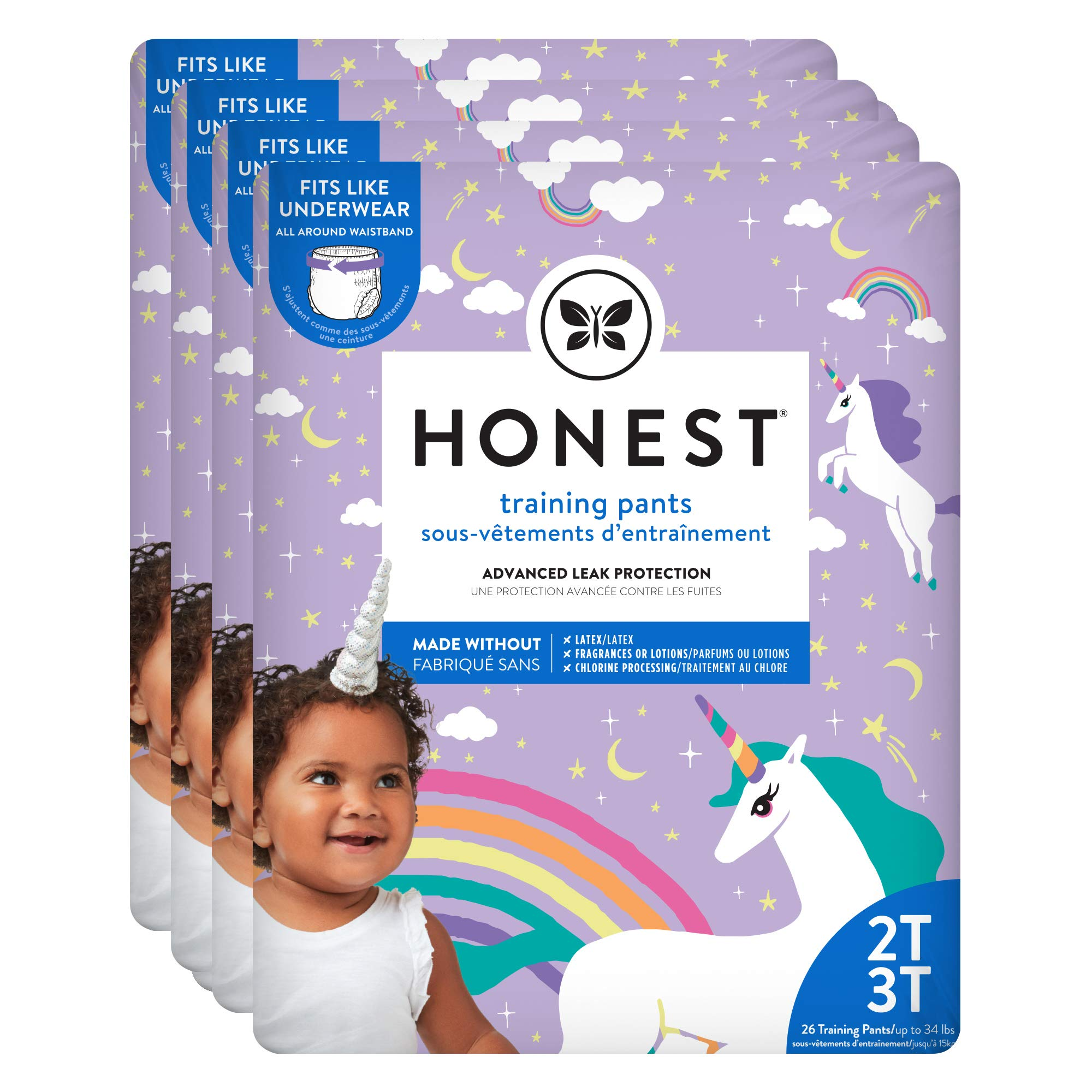 The Honest Company Toddler Training Pants | Unicorns | 2T/3T | 104 Count | Eco-Friendly | Underwear-Like Fit | Stretchy Waistband & Tearaway Sides | Perfect for Potty Training