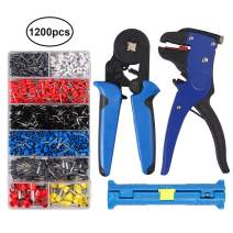 Proster 3 in 1 Wire Crimper Kit 6-4 Crimper Plier Wire Terminal 0.25-10mm2 and Connection Kit with Ferrule Crimper Plier Self-Adjustable Ratchet/Wire Stripper 1200pcs Connectors Terminal