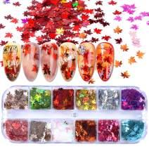 1Boxes 3D Maple Leaf Sequins Nail Sequins Nail Glitter Flakes Shiny tips DIY Dazzling Paillette Designs Manicure Nails Glitter Decorations