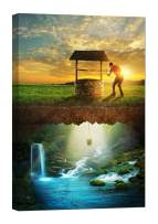LightFairy Wall Art for Living Room - Glow in The Dark Canvas Painting - Stretched and Framed Giclee Print - Well Water Man Boy Bucket - Wall Decorations for Bedroom - 16 x 24 inch