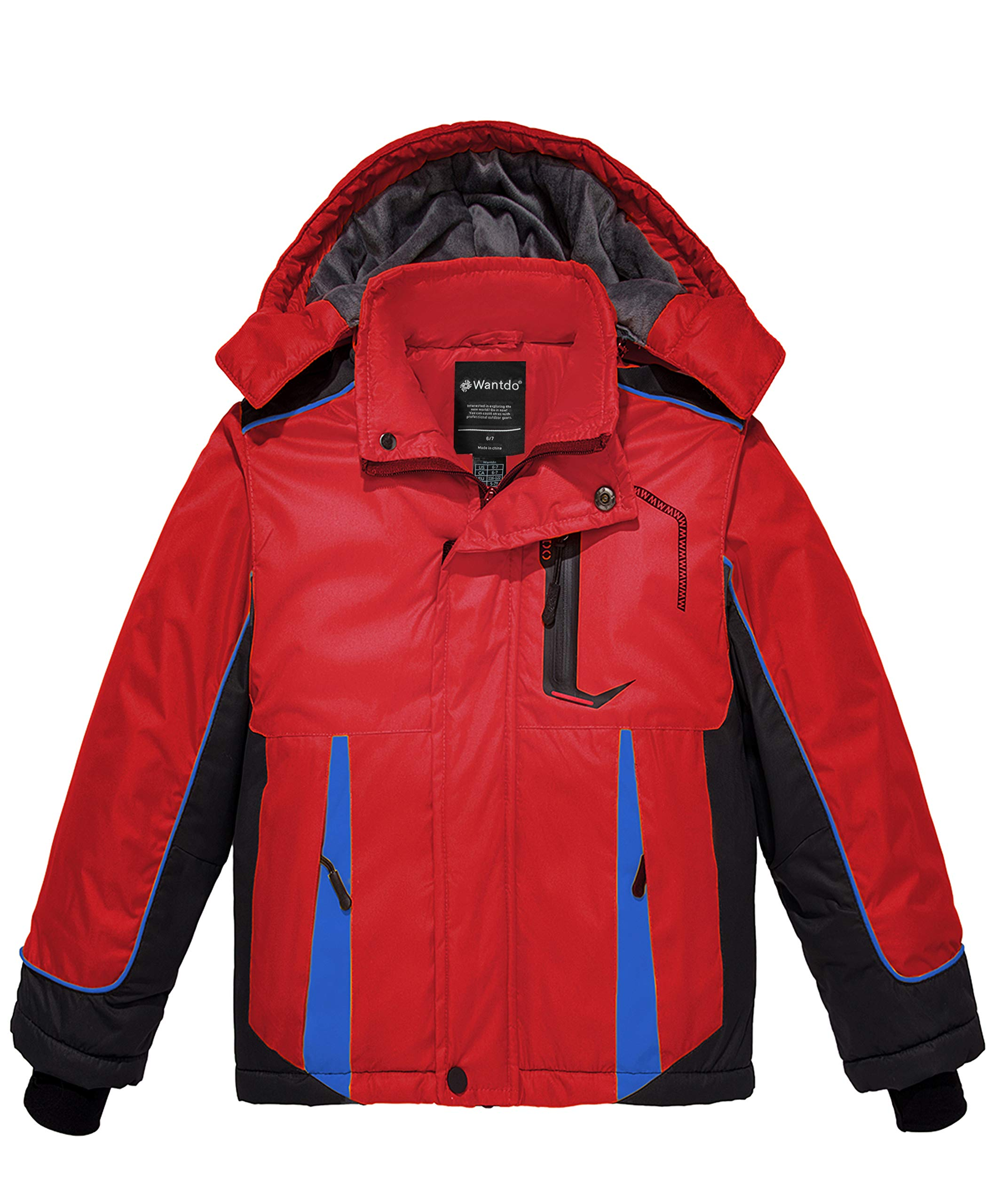 Wantdo Boy's Waterproof Ski Jacket Fleece Lined Winter Coat Hooded Rain Coat