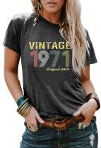 50th Birthday Gift Shirts for Women Vintage 1971 Tshirt Funny Graphic T Shirts Retro Birthday Party Casual Tee Tops