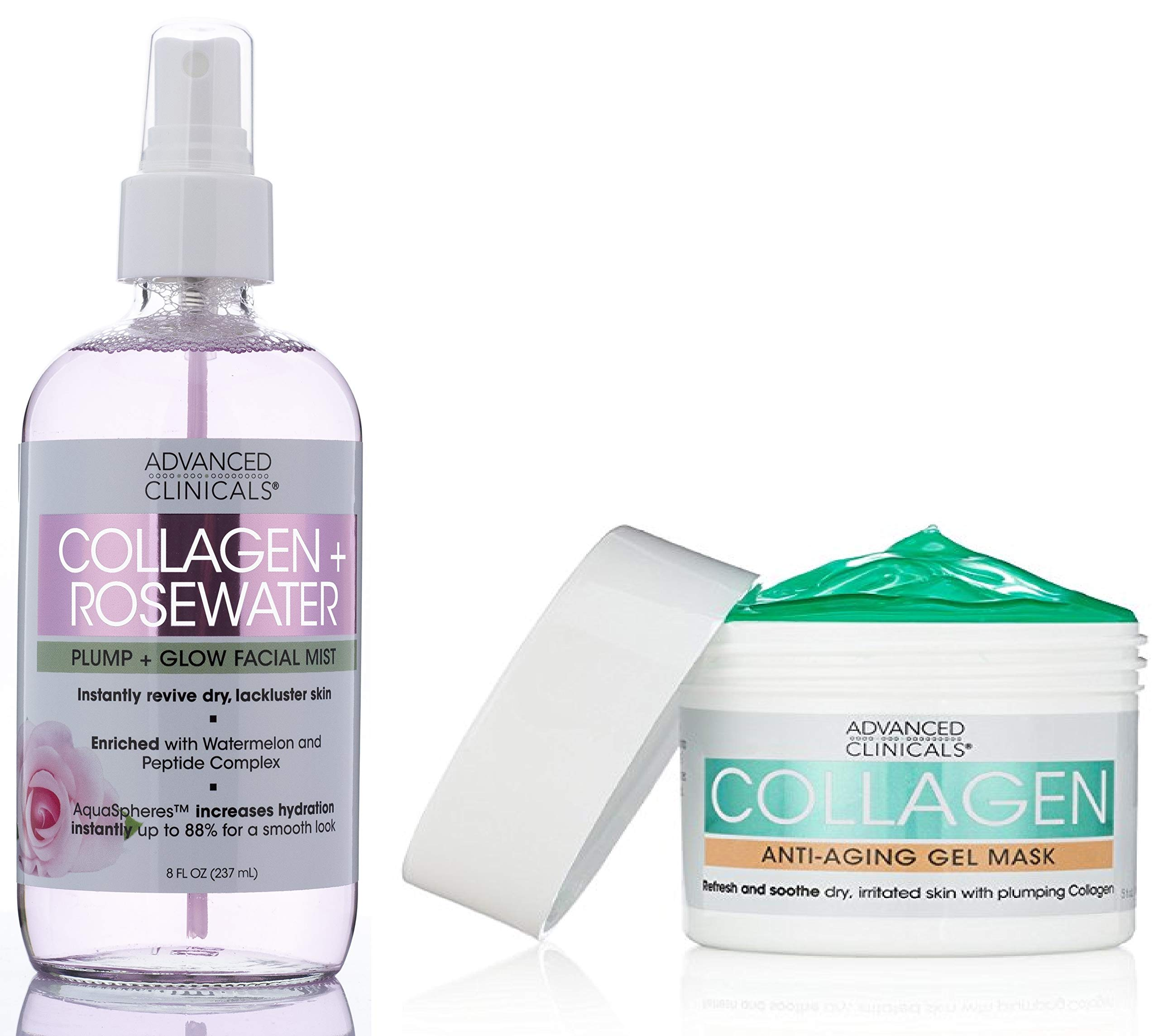Advanced Clinicals Collagen Anti-Aging Skin Care Set for Face. Collagen Gel Mask Plumps & Moisturizers Dry Skin. Collagen + Rosewater Facial Mist Toner Hydrates Dry Skin. Set of 2.