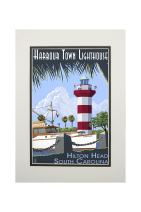 Hilton Head, South Carolina - Harbour Town Lighthouse (11x14 Double-Matted Art Print, Wall Decor Ready to Frame)