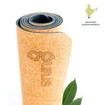 Gurus Cork Yoga Mat with Natural Rubber Bottom, Roots Eco Friendly Yoga Mat, Non Slip Yoga Cork Mat, 72x25 Inches