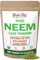 Blue Lily Organics Neem Leaf Powder (Azadirachta indica) 16 oz, 100% Pure, Certified Organic, Raw. For Hair, Skin, Pets and Immunity