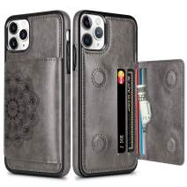 HianDier Wallet Case for iPhone 11 Pro Max Case with Card Slots Holder PU Leather Kickstand Cover Protective Magnetic Closure Shockproof Flip Back Case for iPhone 11 Pro Max 6.5-inch, Mandala Gray