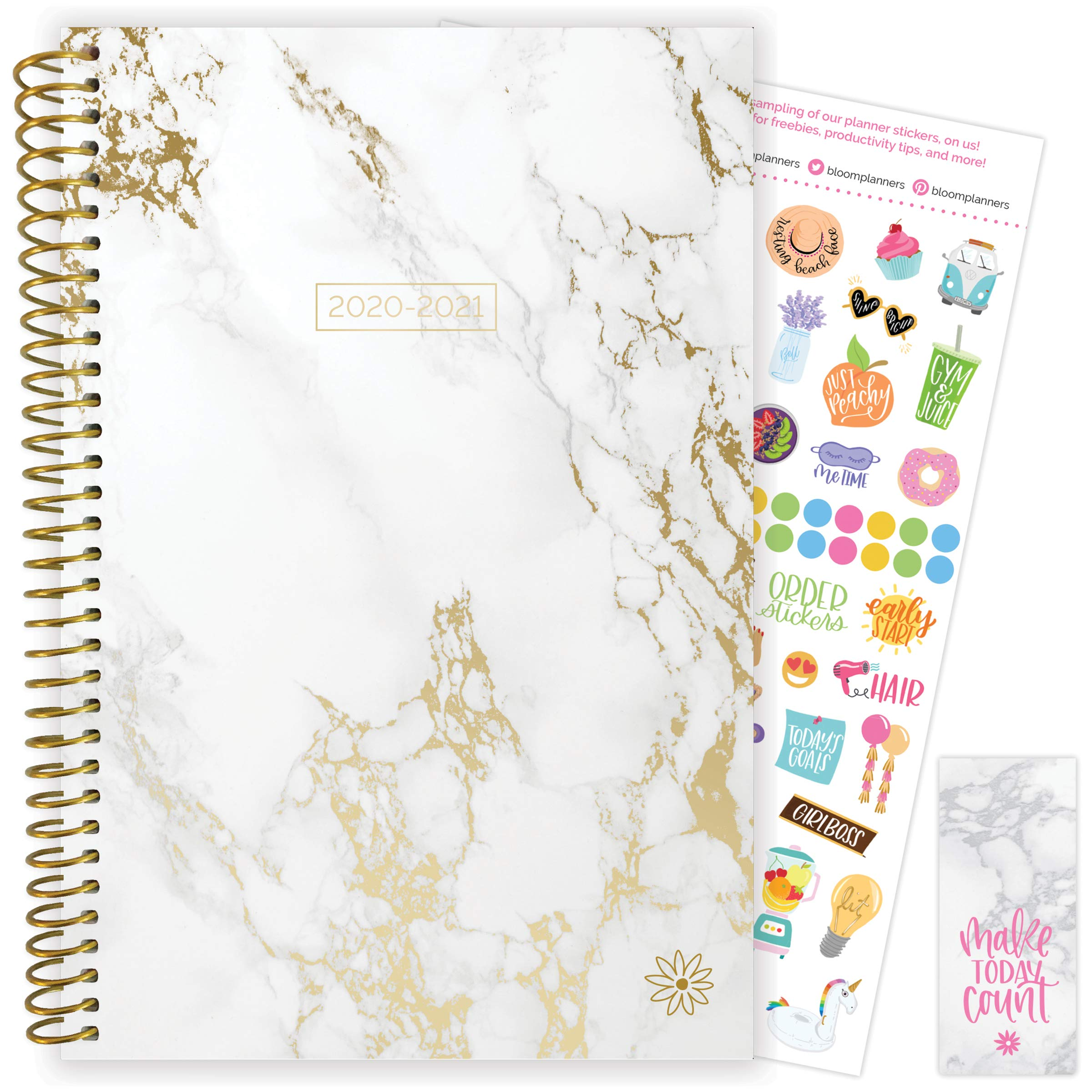 """bloom daily planners 2020-2021 Academic Year Day Planner Calendar (July 2020 - July 2021) - 6"""" x 8.25"""" - Weekly/Monthly Agenda Organizer Book with Stickers & Bookmark - Marble"""