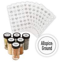 """AllSpice 315 Preprinted Water Resistant Round Spice Jar Labels Set 1.5""""- Fits Penzeys and AllSpice Jars-4 styles to choose from (Modern White)"""