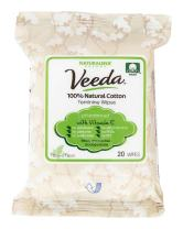 Veeda 100% Natural Cotton PH Balanced Hypoallergenic Feminine Wipes Safe Cleansing Cloths for Sensitive Skin, 6 Pack Of 20 Count Each