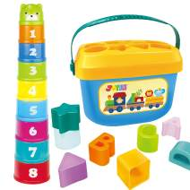 JOYIN Baby Nesting Stack Cups Stack-Up Blocks Cubes Alphabet and Numbers Color Shape Sorting Baby Educational Activity Toys with Portable Case