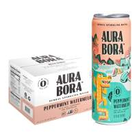 Aura Bora Herbal Sparkling Water Peppermint Watermelon, 12 oz Can (Pack of 12)
