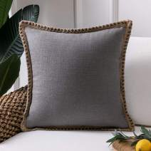Phantoscope Farmhouse Decorative Throw Pillow Covers Burlap Linen Trimmed Tailored Edges Outdoor Pillows Grey 18 x 18 inches, 45 x 45 cm