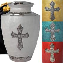Glory to God Catholic/Christian Cross Cremation Urns for Adult Ashes for Funeral, Burial, Niche or Columbarium, 100% Brass, Cremation Urns for Human Ashes Adult 200 Cubic Inches (Large, Cloud White)