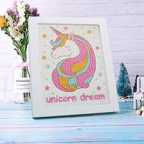 Ailevant 5D Unicorn Diamond Painting Kits for Kids Ages 8-12 with Wooden Frame 7.87 x 7.48 inch, Full Drill DIY Diamond Art, Birthday, Christmas Gift for Beginners, Boys, Girls, Teens (The unicorn 01)