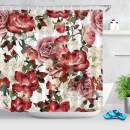 LB Vintage Floral Theme Shower Curtain with Hooks,Peony Rose Flower Shower Curtains for Bathroom Curtain Red Pink White,72x78 inch Waterproof Polyester Fabric Bathroom Accessories