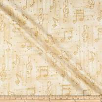Robert Kaufman In Harmony Musical Notes Champagne Fabric Fabric by the Yard