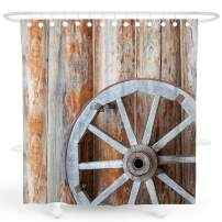 DESIHOM Farmhouse Shower Curtain, Rustic Shower Curtain Tan Country Shower Curtain 3d Wood Shower Curtain Fall Vintage Shower Curtain Barn Door Shower Curtain Polyester Waterproof Shower Curtain 72x72