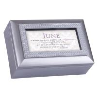 Cottage Garden June Appreciation Special You Birthstone Silver Petite Jewelry Music Box Plays Tune You are My Sunshine