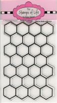 Bee Hive Hexagon Background Sentiment Stamps for Card-Making and Scrapbooking Supplies by The Stamps of Life - Backround4Bees