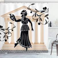 """Ambesonne Retro Shower Curtain, Greek Woman with Amphora Building and Olive Branches Culture Folk Pattern, Cloth Fabric Bathroom Decor Set with Hooks, 70"""" Long, Brown Black"""