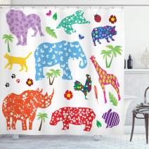 """Ambesonne African Shower Curtain, Arrangement of Wild Animal Design Filled with Various Floral Ornamental Forms, Cloth Fabric Bathroom Decor Set with Hooks, 70"""" Long, Pale Eggshell"""