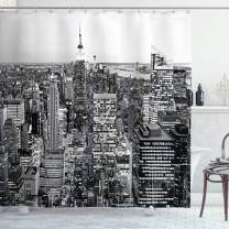"""Ambesonne New York Shower Curtain, Panorama of Manhattan High Buildings of City Famous Monument USA Black and White Photo, Cloth Fabric Bathroom Decor Set with Hooks, 84"""" Long Extra, Monochrome"""